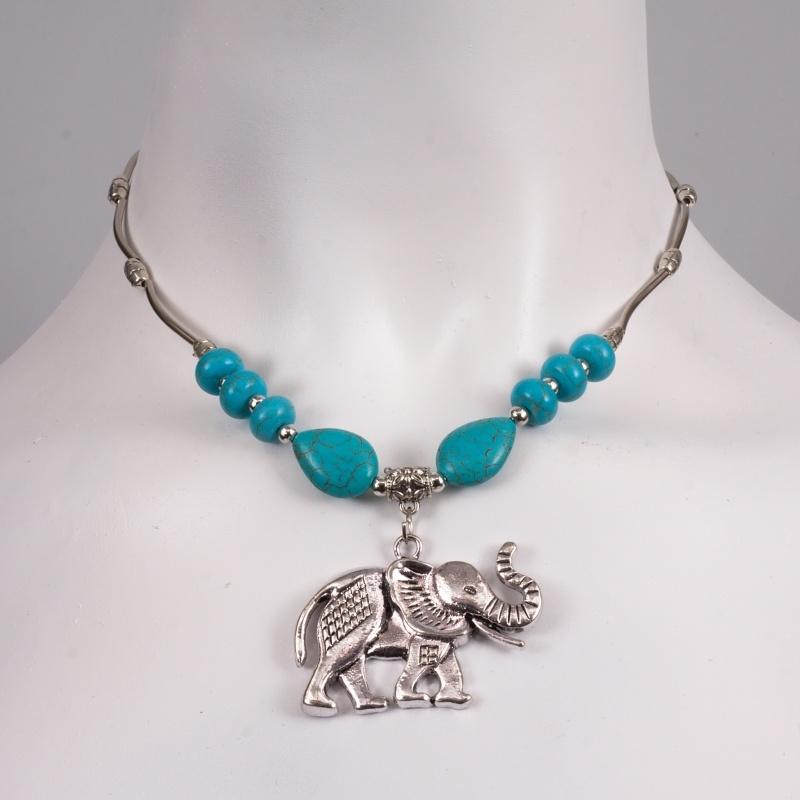 3dbb5ac5b Bižuterie náhrdelníky: NÁHRDELNÍK TYRKYS SLON VELKÝ